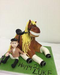 laughing horse & jockey.