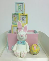 toy cart with bricks, sugar rabbit