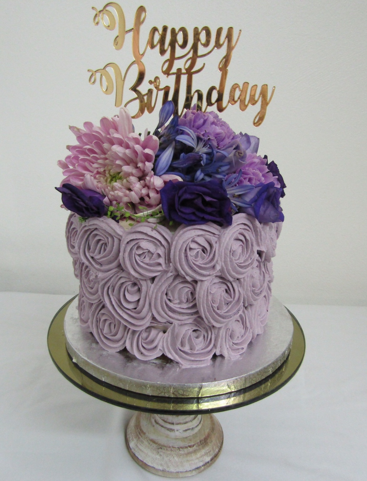 Outstanding Happy Birthday Lilac Rosettes The Kerry Cake Company Funny Birthday Cards Online Elaedamsfinfo