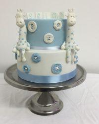 giraffe & buttons christening cake