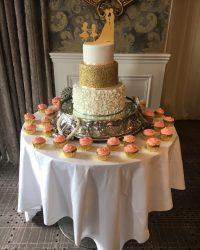 Simmering gold ruffled cake